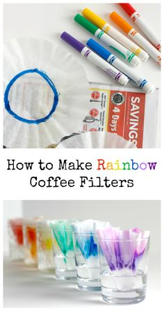 Marker Coffee Filter Experiment How to Make Rainbow Coffee Filters with this super cool science experiment!How to Make Rainbow Coffee Filters with this super cool science experiment! Preschool Science, Science For Kids, Preschool Crafts, Art For Kids, Activities For Kids, Summer Science, Science Activities, Science Centers, Rainbow Activities
