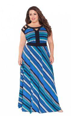 Fashion Bug Women's Plus Size Jillie Maxi Dress in Blue www. Plus Size Gowns, Plus Size Maxi Dresses, Plus Size Dresses, Plus Size Outfits, Summer Dresses, Designer Plus Size Clothing, Plus Size Designers, Plus Size Fashionista, Beautiful Maxi Dresses