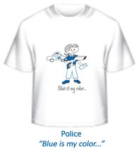 Girls Police Officer tee, available Infant to Adult in a rainbow of colors.