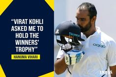 The highest run-getter of the Test series against the Windies, Hanuma Vihari shares his experience after winning the trophy. Virat Kohli, Cricket News, Hold On, Fans, Ootd, Instagram, Naruto Sad