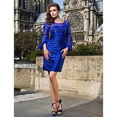 Sheath/Column Scoop Short/Mini Stretch Satin And Chiffon Cocktail Dress – USD $ 149.99