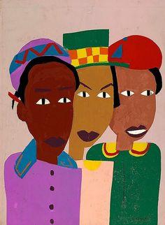 William H. Johnson (American artist, 1901-1970) Three Friends 1944-45