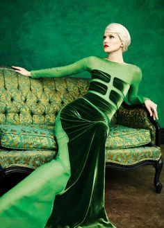 Stunning green velvet and sheer dress and brocade seating.