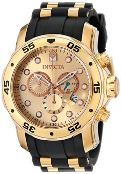 9a36a0b8b42 Invicta Men s 17884 Pro Diver 18k Gold Ion-Plated Stainless Steel  Chronograph Watch Relógios Chiques