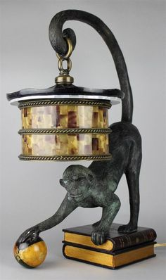 Maitland Smith Bronze Monkey Lamp, Pen Shell Shade, Mother of Pearl, Exquisite! #MaitlandSmith