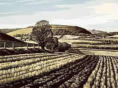 Winter Stubble, Winklebury Hill by Howard Phipps - Linocut