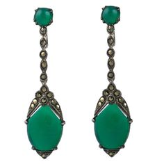 Deco Marcasite and Green Onyx Earrings  Germany  1930's  Art Deco sterling and marcasite articulated earrings by Wachenheimer, Germany. This company manufactured elegant art deco jewelry for the high end market in the 1930's. Green onyx cab at the ear and on the drop. Signed.