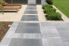 Cut out plant beds in front of games room window. Big slabs as a path across the gravelled section. Backyard, Patio, Garden Pool, Outdoor Gardens, Garden Design, Home Improvement, Sidewalk, Exterior, Room Window