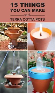 15 Things You Can Make With Terra Cotta Pots 15 creative ideas how to upcycle clay pots and turn them into eye-catching decorations for your home and garden. Easy Arts And Crafts, Crafts To Make And Sell, Diy Home Crafts, Garden Crafts, Creative Crafts, Homemade Crafts, Garden Ideas, Diy Flowers, Flower Pots