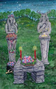 Beltane altar, god and goddess