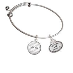 Keep Calm and Carry On - Bible Verse John 3:16 Glass Dome Bangle Bracelet * Click image for more details.-It is an affiliate link to Amazon. #Bracelet