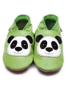 Soft green baby shoes with panda - Inch Blue