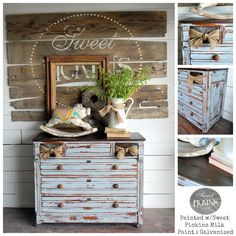 Sweet Pickins Milk Paint is a true milk paint which comes in a powder form. Our Milk Paint is environmentally safe and non-toxic. There is a slight milky odor when it is applied, but it is complet… Old Furniture, Repurposed Furniture, Shabby Chic Furniture, Shabby Chic Decor, Painted Furniture, Furniture Ideas, Salon Furniture, Steel Furniture, Bedroom Furniture