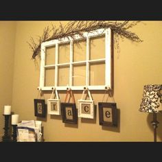 Bing : old window crafts I have a window frame in my kitchen from a restaurant in Maine. Old Window Crafts, Old Window Projects, Diy Projects, Window Art, Window Frames, Window Ideas, Hanging Frames, Window Table, Door Frames