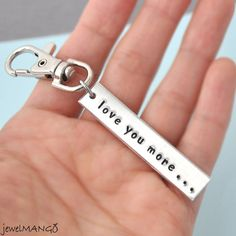 I Love You More Key ring valentine gifts by JewelMango on Etsy