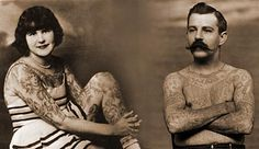 A photo montage of two tattooed circus performers for the Ringling Bros. and Barnum & Bailey Circus, Betty Broadbent (circa 1930s) and Frank Howard (circa 1898), from the collections of Circus World Museum