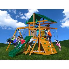 Your backyard will be the envy of all the kids in the neighborhood when it becomes the new home to this exciting playset. With a belt swing, glider swing, t