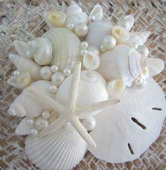Beach Decor Seashell Box Set of 3 - Nautical Decor White Shell Storage Box, Set of 3