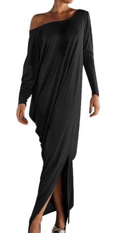 Women's One Shoulder Ruffled Slit Maxi Dress