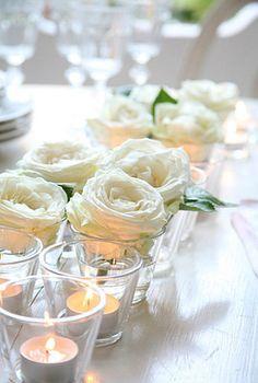 White roses & votives...