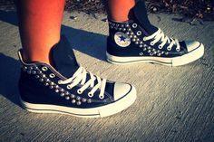 Studded Converse Shoes by ChaoticMayhem on Etsy