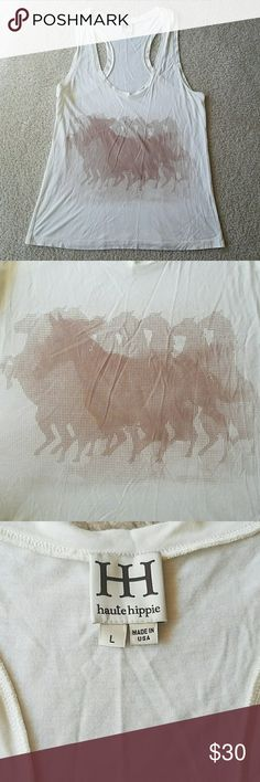 Haute Hippie Horses Tank Tan and brown racerback tank in size Large. Super soft fabric Made in the USA by Haute Hippie Haute Hippie Tops Tank Tops