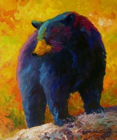 Western Painting - Checking The Smorg - Black Bear by Marion Rose