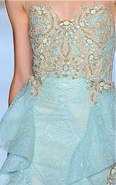 Badgley Mischka, 2014.  Oooh, very pretty combination - cream and opaque white with soft blue...