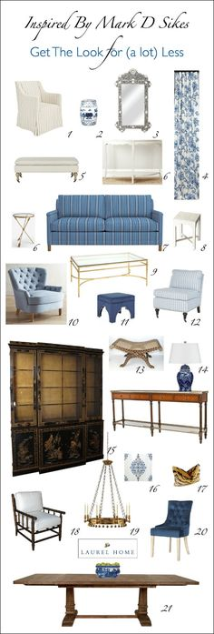 How To Get The Mark D Sikes Look For A Lot Less Money - #blueandwhite - I love Mark Sikes' work and of course, for those who can afford to hire him, that is wonderful, but for the rest of us, here are some ideas about how to get the look for less.
