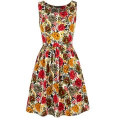 Mela Loves London Floral Print Prom Dress ($39) ❤ liked on Polyvore featuring dresses, red, women, floral dress, red floral dress, sleeveless prom dress, print prom dresses and collar dress