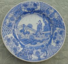 Antique Chinese Porcelain Blue White Plate Long Eliza Jumping Boy Qing 清代 18th C