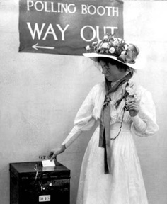Christabel Pankhurst, British suffragette leader, casting her first vote. (Sometimes mis-identified as her mother, Emmeline Pankhurst, who was much older at the time of the victory. Belle Epoque, James Naismith, Art Nouveau, Emiline Pankhurst, Women Suffragette, Deeds Not Words, Brave Women, Power Dressing, Bass