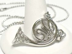 French Horn Crystal Necklace White Gold Plated SO CUTE Band Instrument