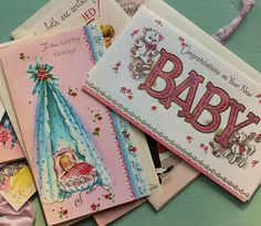 Vintage BABY SHOWER Greeting Card Bundle, New Baby Cards Pink, Vintage Scrapbooking Ephemera - Set of 7 UNUSED by BygoneCharm on Etsy Baby Shower Greeting Cards, Vintage Nursery Decor, New Baby Greetings, Chubby Babies, New Baby Cards, Vintage Scrapbook, Happy Baby, Vintage Ephemera, Etsy Vintage