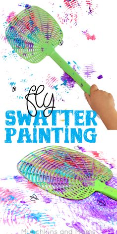Fly Swatter Painting Fly swatter painting- what a blast! Preschoolers would love this process art activity! Fly Swatter Painting Fly swatter painting- what a blast! Preschoolers would love this process art activity! Daycare Crafts, Toddler Crafts, Preschool Crafts, Kids Crafts, Process Art Preschool, Preschool Bug Theme, Kids Diy, Preschool Ideas, Summer Preschool Themes