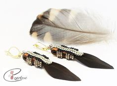 Native American Inspired Earrings with Dark Brown Feather by Ezartesa.