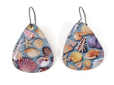 Beach Earrings, Recycled Tin with Seashells, Light Blue by TinMoonJewelryworks on Etsy.  $34.