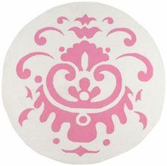 Damask Playground Rug in Pink & White
