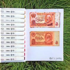 Money, bills, old, antique, 1961, russia, copy, drawing, realistic, illustration. Back to USSR 1961💰Я собираю бумажные денежки стран по которым путешествую и уже накопила приличную пачку, но этот экземпляр самый ценный…