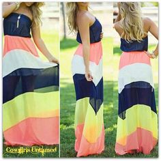 WILD FLOWER DRESS Strapless Multi Color Striped Boho Maxi Dress