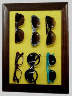 Make a Sunglasses Storage Rack. This is exactly what I was looking for! We have so many sunglasses, I don't  Know what to do with them!