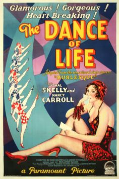 The Dance of Life (1929) is the first of three film adaptations of the popular Broadway play Burlesque, the others being Swing High, Swing Low (1937) and When My Baby Smiles at Me (1948). The Dance of Life was shot at Paramount Pictures (Astoria, New York) Studio, made with Technicolor sequences, directed by John Cromwell and A. Edward Sutherland. No color prints survive, only black-and-white prints made in the 1950s for TV broadcast.