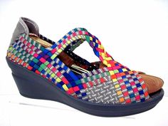 BERNIE MEV Multi Color Elastic Fabric Weave Peep Toe Wedge Size 40 #BernieMev…
