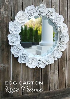 Egg Carton Flower Frame via bliss bloom blog