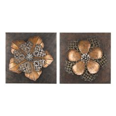 Bedazzle your walls with this pairing of Floral Jeweled Wall Décor. Set on a burnished metal background, each oversized blossom is crafted of solid bronzed metal petals, and punched out metal petals in a fleur de lis pattern. The centers of the Floral Jeweled Wall Decor glimmer with faceted gems. Set of two.