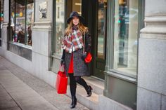 Festive red, grey + plaid
