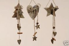 Wooden Hanging Christmas Heart With Stars & Bell
