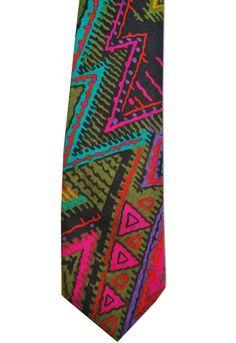 "Generra Funky Vintage 1980s 2.5"" Skinny Neck Tie Necktie Bright Geometric Print  #None #Necktie"