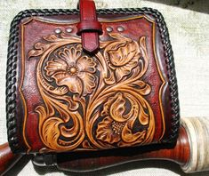 Tooled billfold wallet, hand carved,  A_S floral, sheridan, western style  #western #wallet #leathercarving #leatherwork #handcrafted