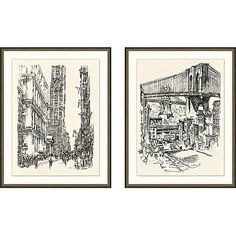 City Drawings Drawings (86,755 DOP) ❤ liked on Polyvore featuring home, home decor, wall art, gold leaf wall art, new york wall art, new york home decor and brooklyn bridge wall art